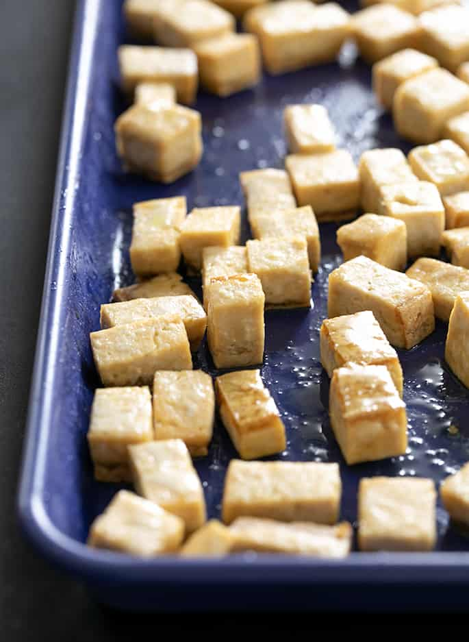 Baked tofu for serving in gluten free ramen noodles soup.