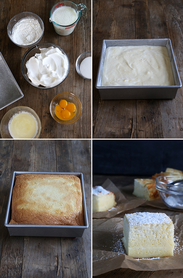 Custard cake ingredients and cake batter, along with baked custard cake on wooden surface