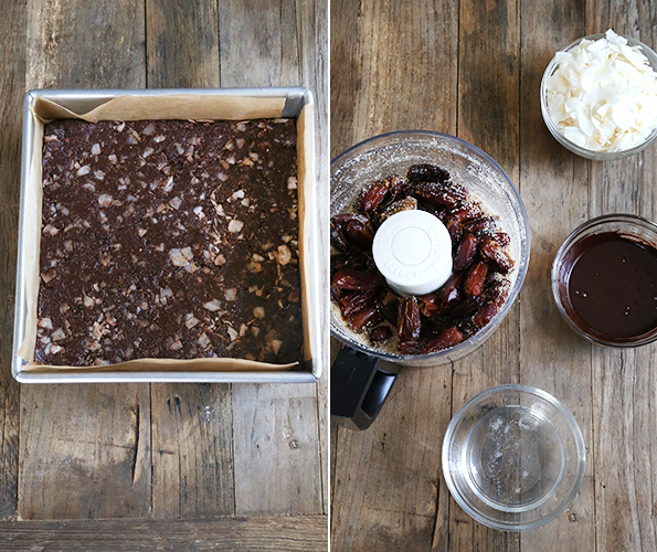 Chocolate Coconut Chew LARABAR Copycat bars on wooden surface and ingreidnst for bar s in food processor