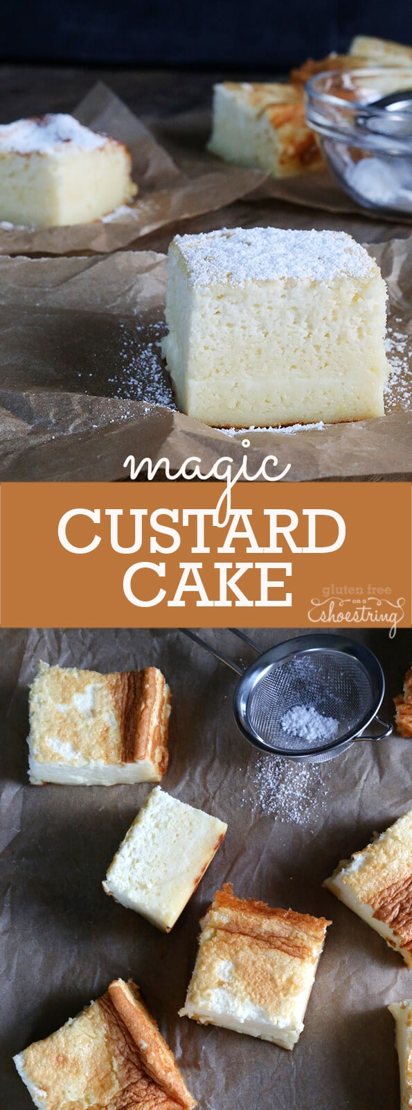 Close up and overhead view of custard cake