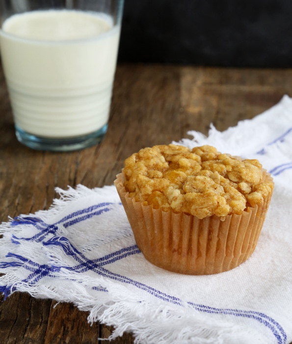 Pumpkin crumb muffin on white towel