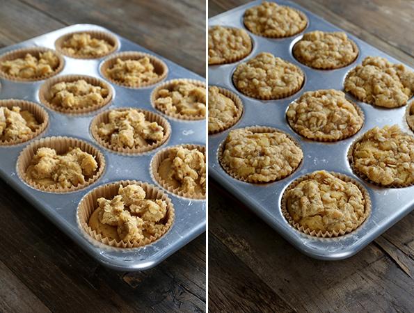 Pumpkin crumb muffins in metal muffin tray