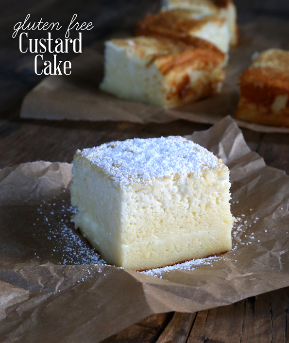 This magic gluten free custard cake creates 3 layers all by itself. The simplest ingredients make the most amazing, light and fluffy cake with a custard center!https://glutenfreeonashoestring.com/gluten-free-custard-cake/