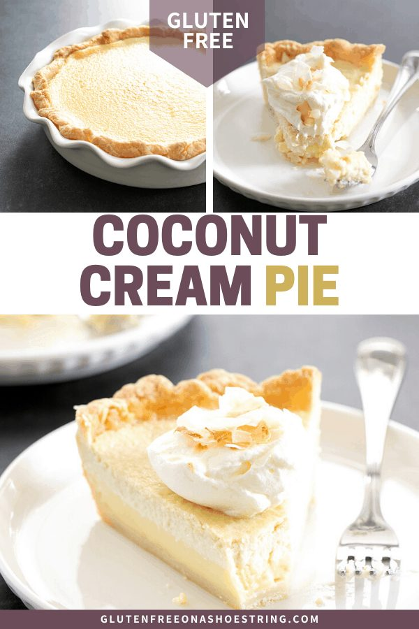 Coconut cream pie baked in a pan, and a slice on a plate.