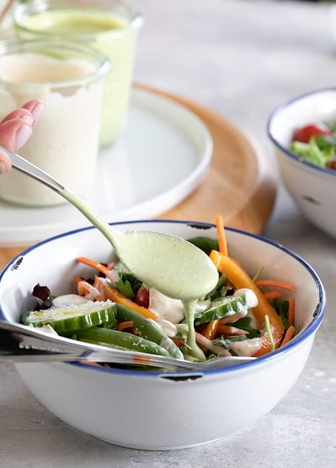 Make your own green goddess salad dressing in a simple blender and never buy bottled dressing again.