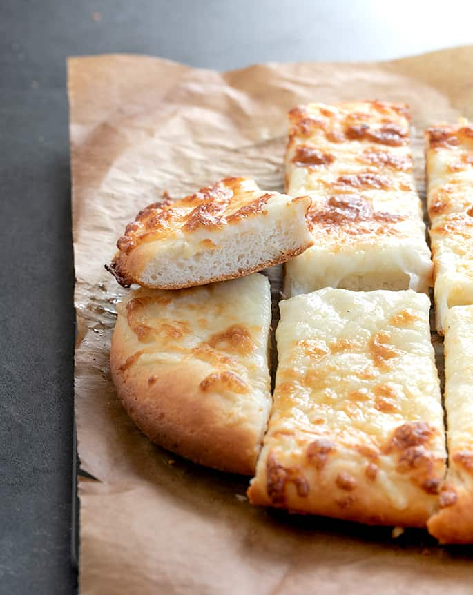 Inside crumb of garlic pizza breadsticks