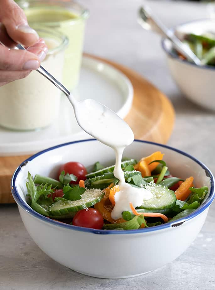 Make your own ranch salad dressing in a simple blender and never buy bottled dressing again.