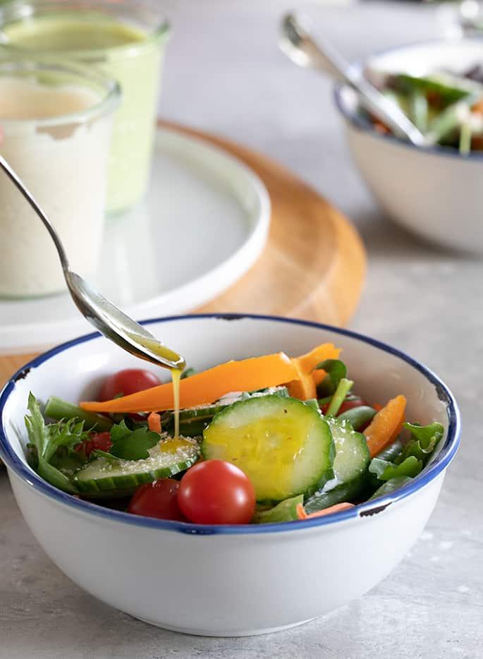 Make your own vinaigrette salad dressing in a simple blender and never buy bottled dressing again.