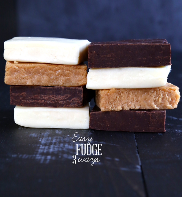 Easy Fudge 3 Ways: Chocolate, Vanilla & Peanut Butter