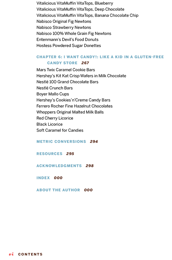 Gluten Free Classic Snacks Table of Contents