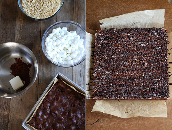 Gluten Free Crunch Brownies—chewy brownies with a crisp rice top!