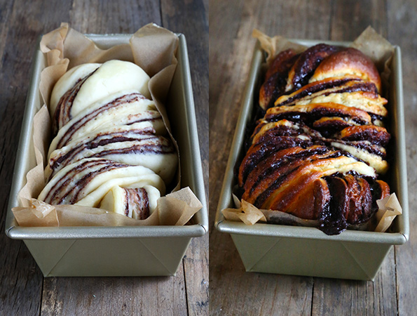 Chocolate babka before and after being baked in loaf pan