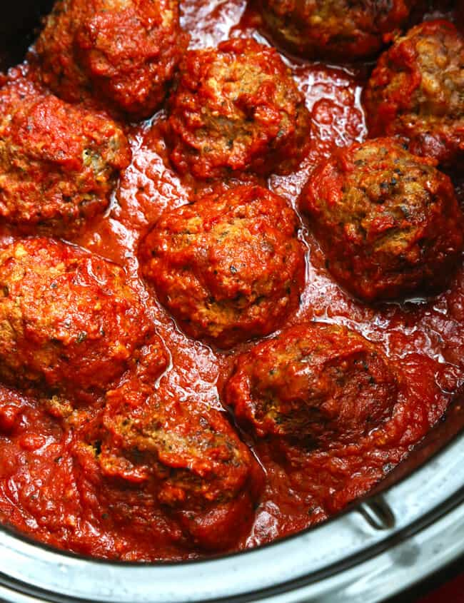 Dried herbs in the crock are the secret to the rich flavor and perfect texture of these slow cooker meatballs. And it's also the easiest, most convenient meal you'll make all week!
