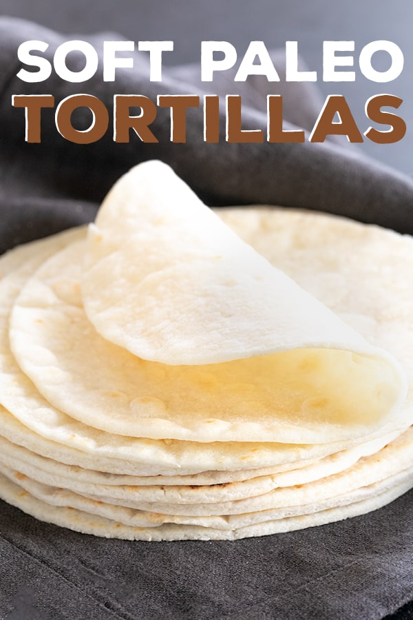 These soft Paleo flour tortillas are soft, bendable and have a savory buttery taste that goes with everything. They even reheat perfectly after being refrigerated or frozen! #paleo #glutenfree #gf #tortillas #wraps
