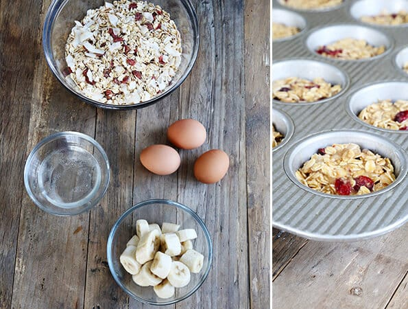 A wooden table with dry ingredients for oaten muffins, a bowl, 3 eggs, and a bowl of bananas with a muffin dish with the muffin batter in it.