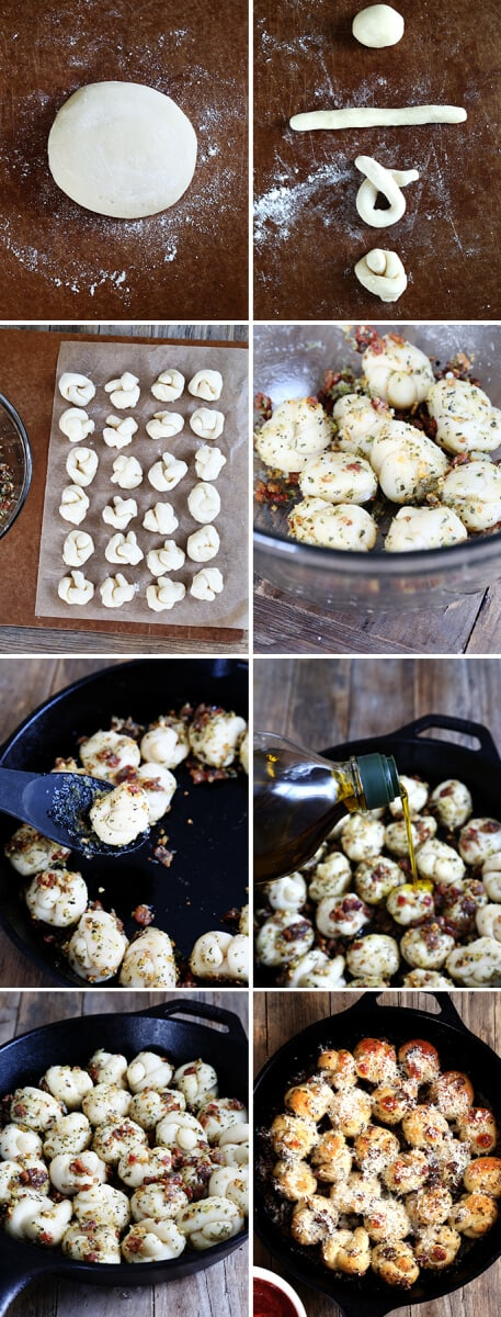Pull Apart Gluten Free Bacon Garlic Knots—Step by Step