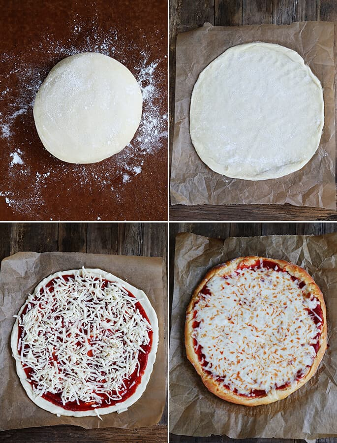 Pizza dough with sauce and cheese being put on top ad a pizza on brown surface