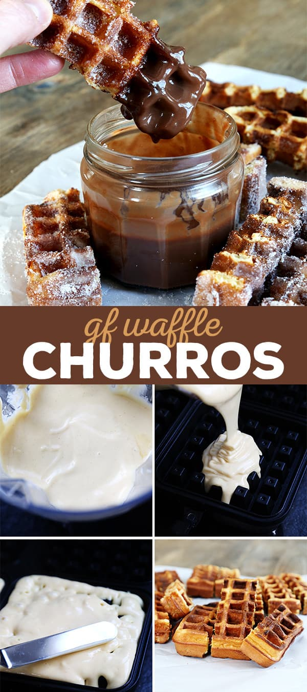 These gluten free waffle churros are like a Cinco de Mayo miracle. They have all the taste and texture of churros, but in a no-fry waffle batter.
