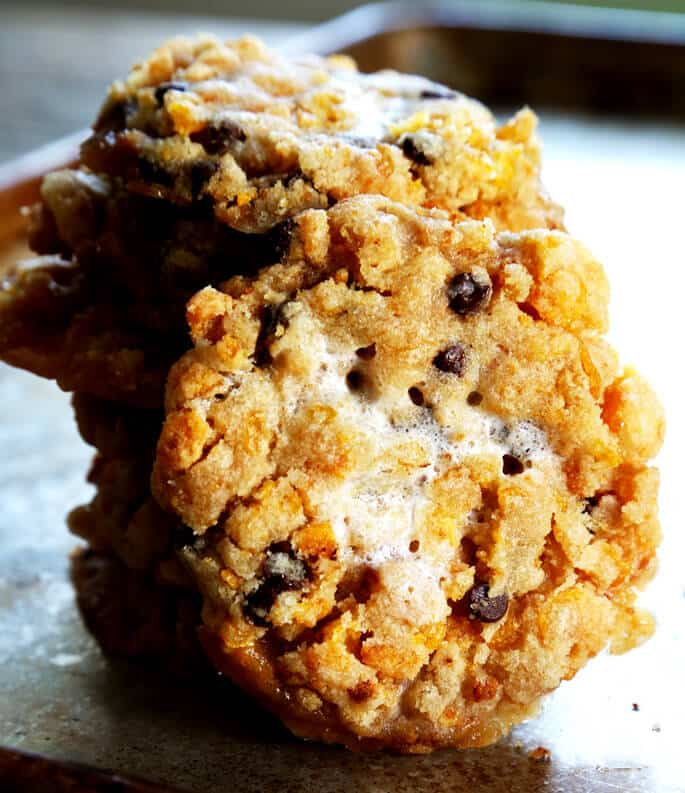 Close up of chocolate chip marshmallow cookies