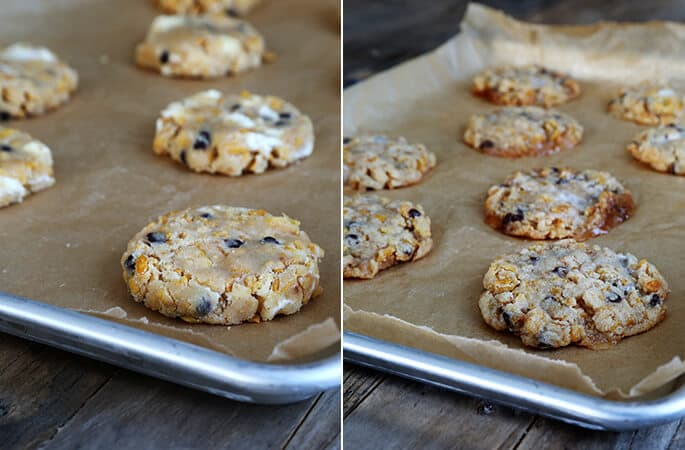 Chocolate chip marshmallow cookies on metal tray