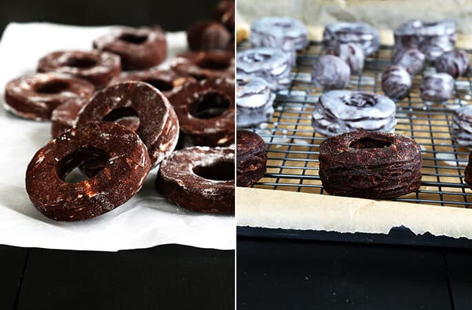 Chocolate donuts before and after glaze
