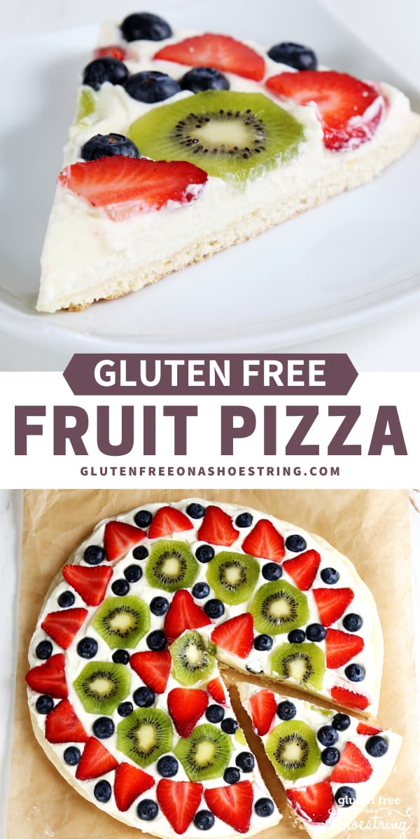 Get this tested recipe for gluten free fruit pizza: a sugar cookie crust topped with whipped cream cheese frosting, decorated with fresh fruit.
