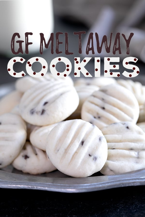 These delicate gluten free meltaway cookies are a cross between a butter cookie and shortbread, and really do melt in your mouth. Make them as drop cookies or roll them out and cut out shapes. #glutenfree #gf #cookies #Christmas #meltaway