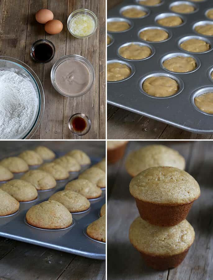 Ingredients for gluten free mini banana muffins then raw in pan, baked and in a stack.