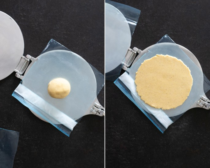 A ball of masa dough on a tortilla press, and the dough as pressed
