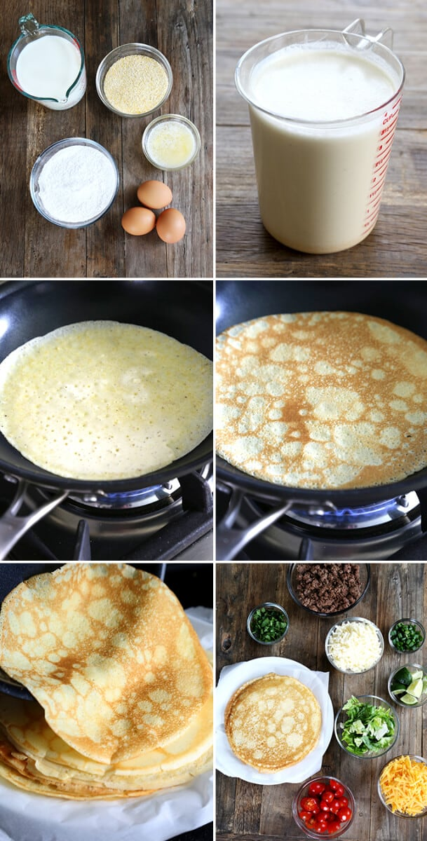 Gluten Free Cornmeal Crêpes with taco fillings, step by step