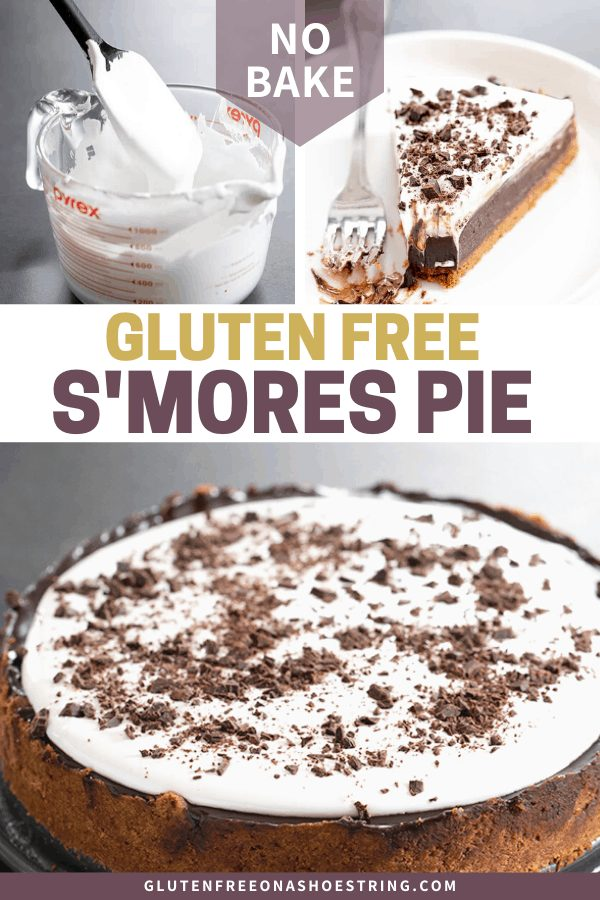 Marshmallow topping, s'mores pie slice with bite taken, and whole uncut s'mores pie.