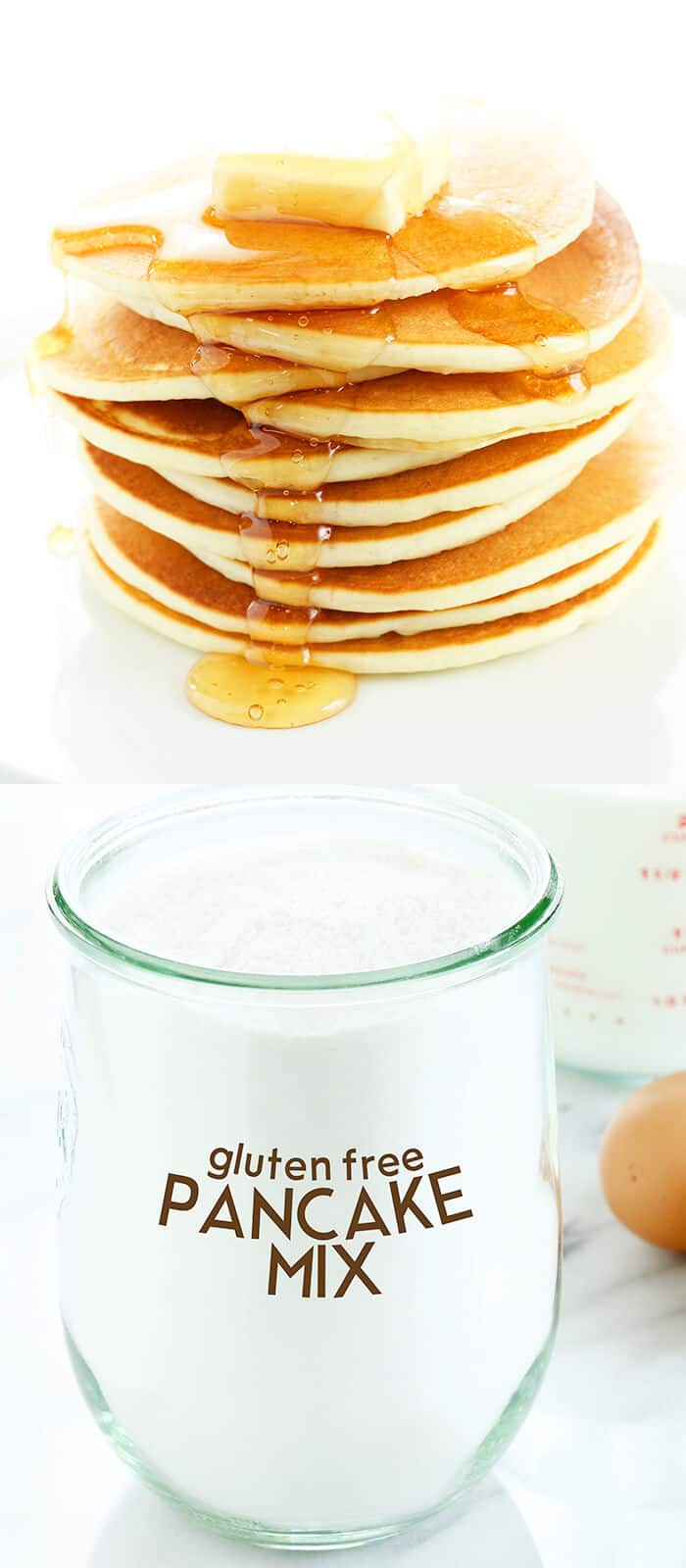 A jar with homemade pancake mix and a plate with a stack of pancakes and syrup