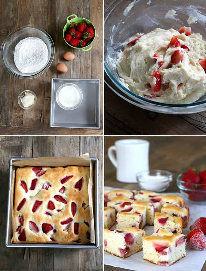 Gluten Free Strawberry Breakfast Cake, Step by Step