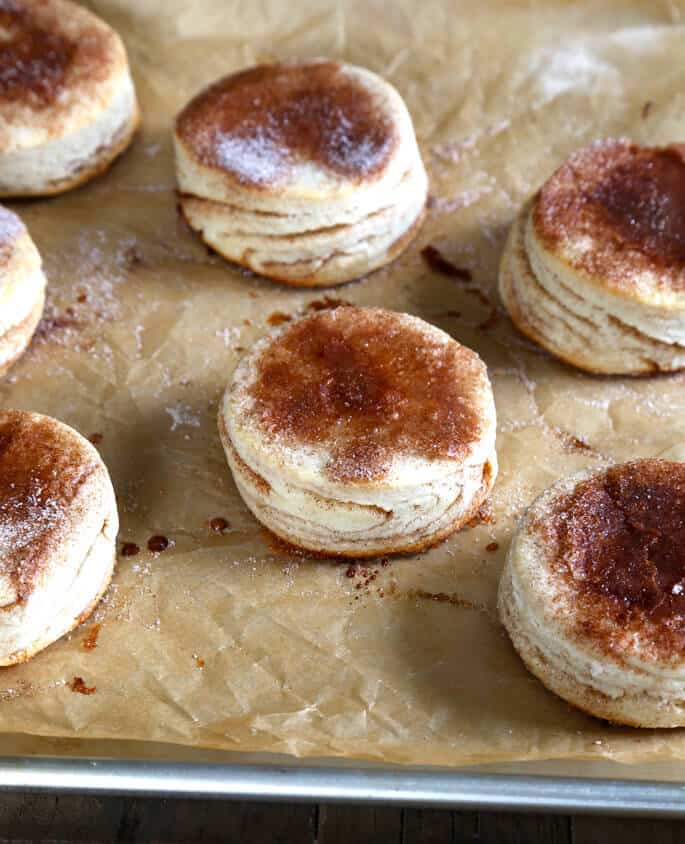 Cinnamon sugar biscuits on brown paper