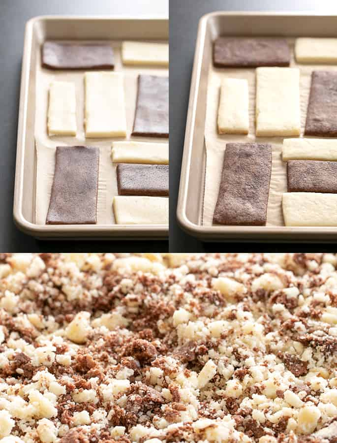 Eclair ice cream bar topping raw, baked and crumbled