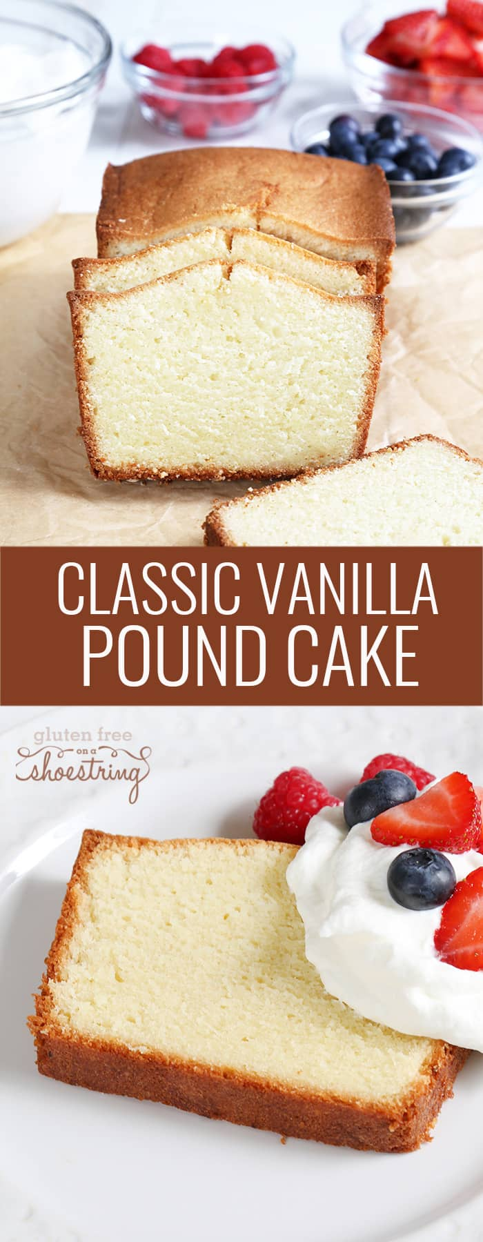Pound cake on white plate and on brown surface