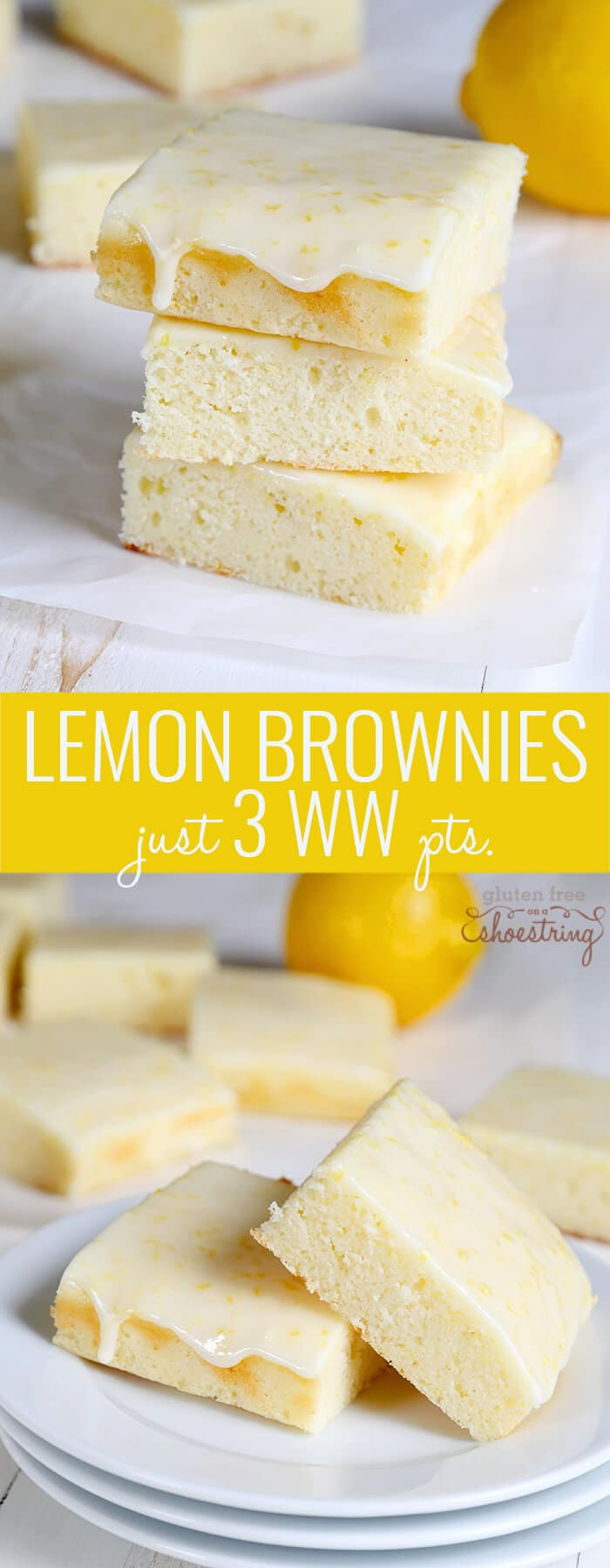 Lemon brownies on white paper and on other white surface