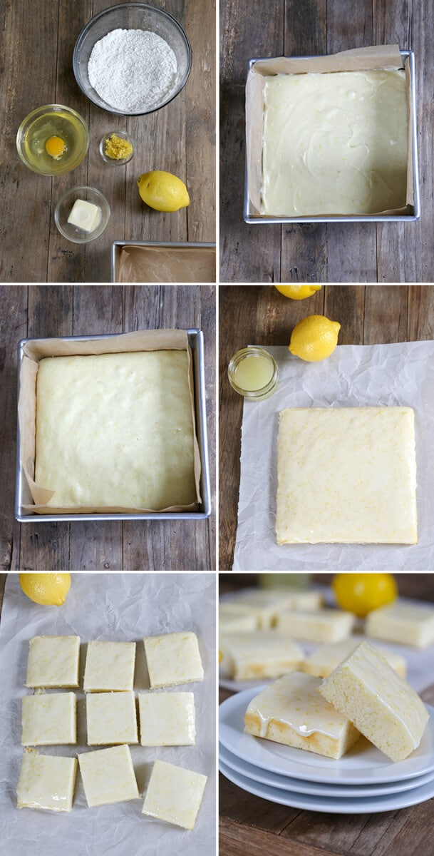 Lemon brownies in pan and on white surface