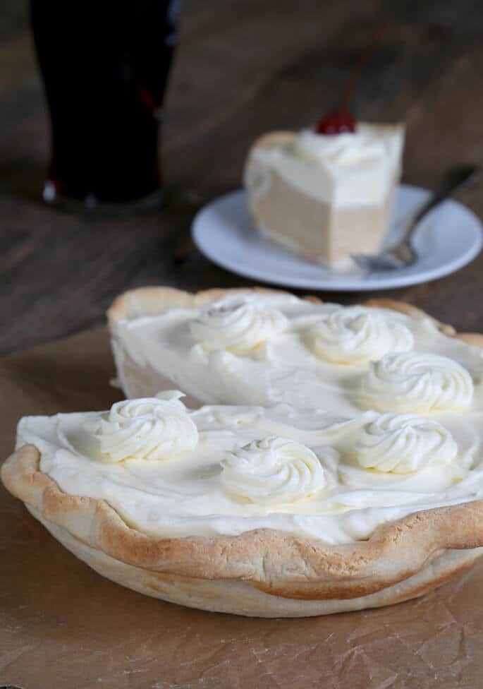 A close up of root beer float pie
