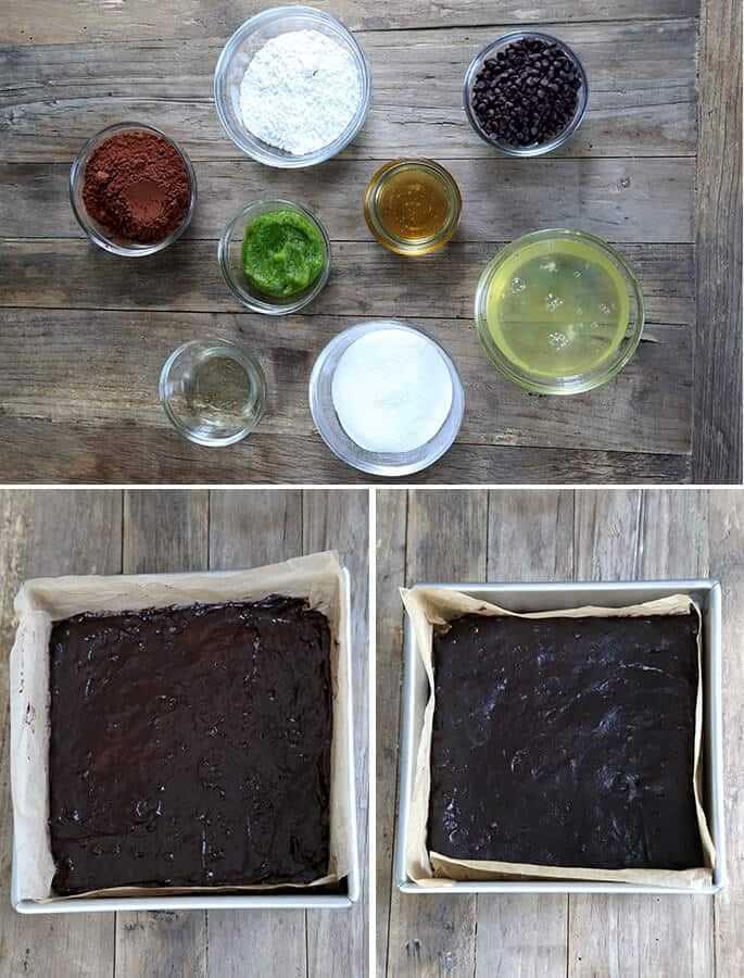 Overhead view of ingredients for chocolate zucchini brines and chocolate zucchini brownies