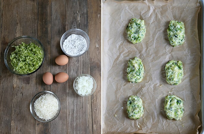 An overhead view of of ingredients for zucchini tots and raw zucchini tots on beige surface