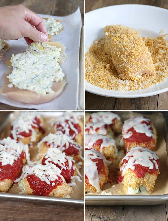 Gluten Free Zucchini Chicken Parmesan Bundles, Step by Step