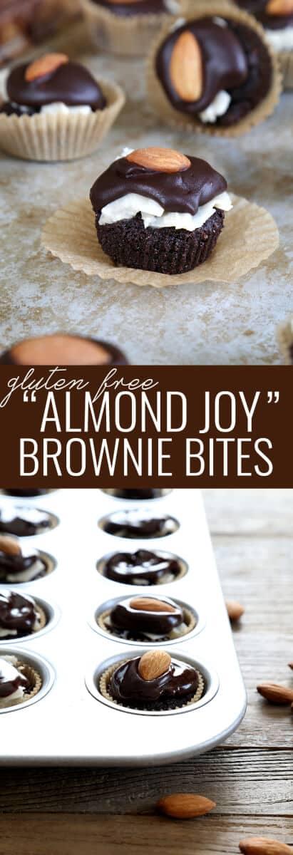 Almond joy brownies in back of image