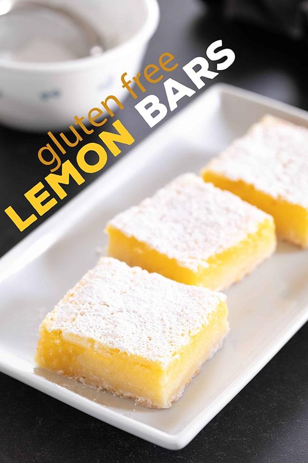A simple lemony shortbread crust with a tart, refreshing lemon custard, these gluten free lemon bars are so easy to make!
