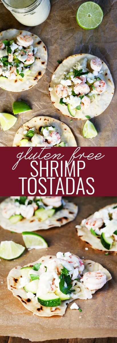 Close uo and overhead view of shrimp tostadas on parchment paper
