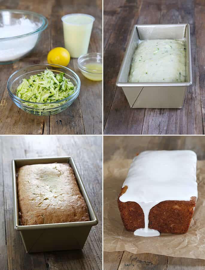 Zucchini in a bowl, lemon zucchini bread in a load pan, and lemon zucchini bread on parchment paper with vanilla on top