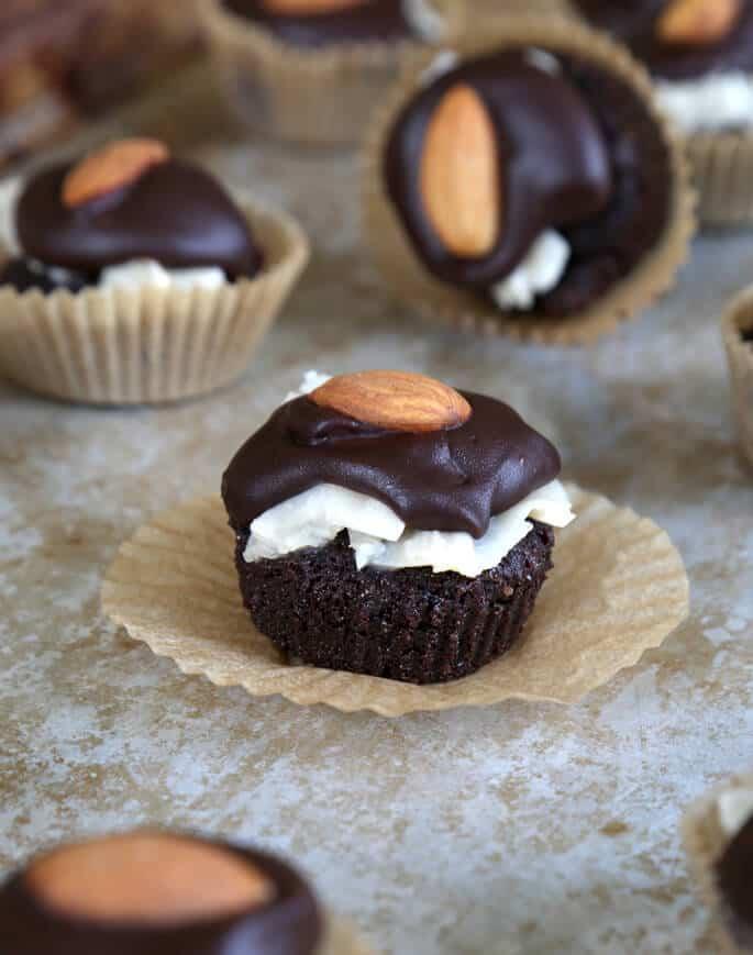 A close up of almond joy brownie bites