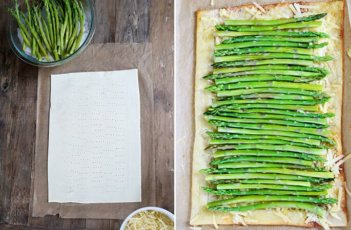 Overhead view of asparagus tart on wooden surface