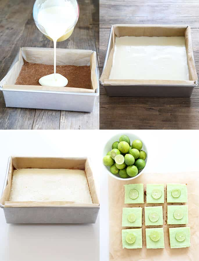 Key lime pie bars being assembled in metal pan, and an overhead view of key lime pie bars on parchment paper