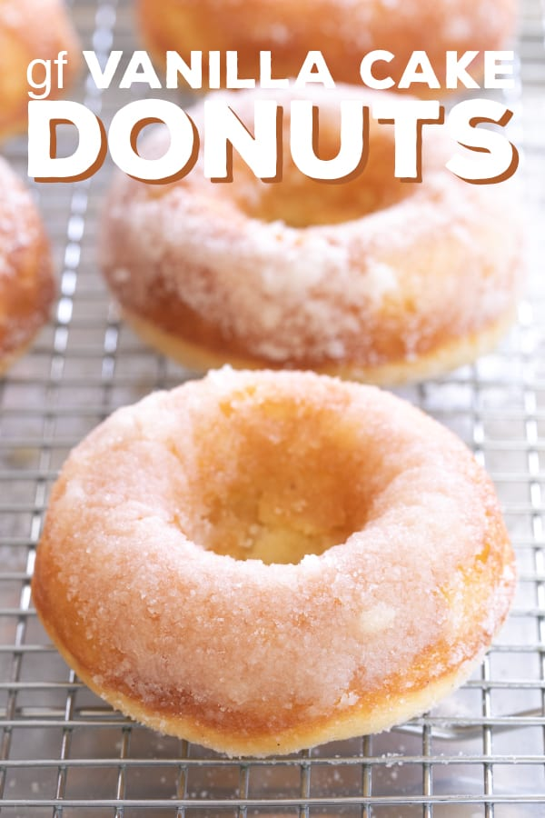 These gluten free glazed vanilla cake donuts are soft, moist and tender, and bake up in minutes. They're basically the perfect vanilla donut. #glutenfree #gf #donuts